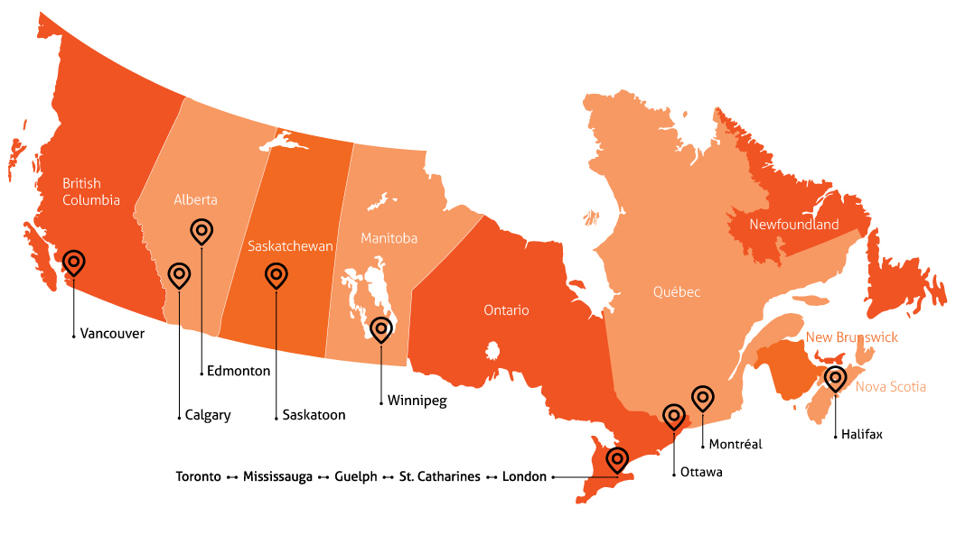 A map of Canada indicating the locations of Homewood offices. Offices are in displayed in Vancouver, Calgary, Edmonton, Saskatoon, Winnipeg, Toronto, Mississauga, Guelph, St. Catherines, London, Ottawa, Montreal, and Halifax.
