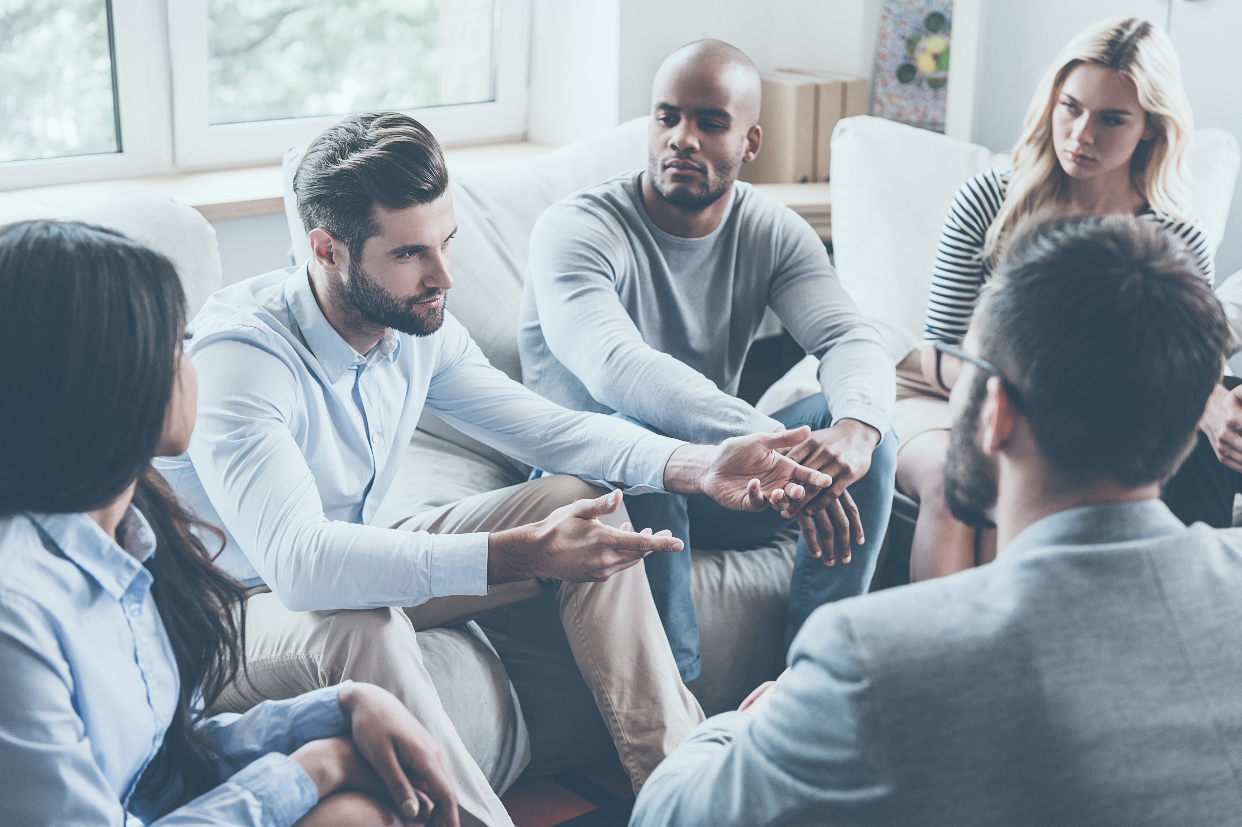 group of people speaking