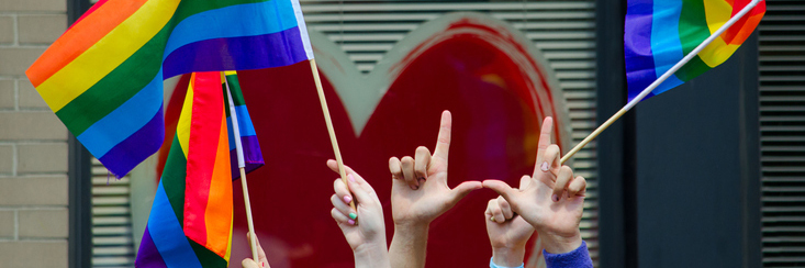 hands with lgbtq flag